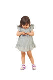 兴奋女孩移动电话小孩 免版税图库摄影