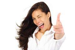 兴奋成功妇女 免版税库存照片