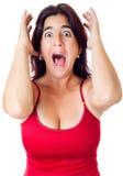 兴奋讲西班牙语的美国人查出白人妇女叫喊 免版税图库摄影