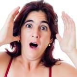 兴奋讲西班牙语的美国人查出的白人妇女叫喊 免版税库存图片