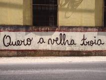 兴旺的都市街道画和街道艺术场面在塞图巴尔,在里斯本附近,葡萄牙, 2014年 免版税图库摄影