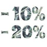 兴趣的题字在销售上与美元的里面图象 免版税库存照片