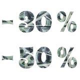 兴趣的题字在销售上与美元的里面图象 免版税图库摄影