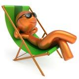 兴高采烈的人休息海滩轻便折叠躺椅太阳镜暑假 库存例证