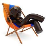 兴高采烈的人放松海滩轻便折叠躺椅太阳镜夏天人 库存例证