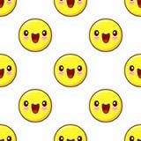 兴高采烈的在白色背景的面孔无缝的样式样式 意思号emoji 库存图片