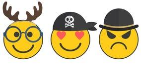 兴高采烈的面孔、滑稽的鹿,海盗爱的和不高兴 向量例证