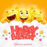 兴高采烈的黄色面对emoji字符 愉快的生日贺卡 库存图片