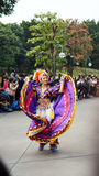 其中一个一次游行的舞蹈执行者在迪斯尼乐园 免版税库存照片