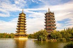 其中一个在桂林太阳和月球塔的地标 免版税图库摄影