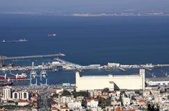 其中一个在海法港的最大的谷物仓库  图库摄影