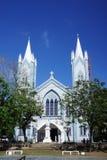 其中一个在巴拉望岛海岛上的最大的大教堂在普林塞萨港,菲律宾 免版税图库摄影
