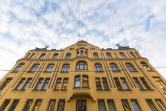 其中一个大厦在里加老地区,拉脱维亚 旅行 库存图片