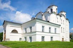 其中一个最旧的教会在1113年建立的Veliky诺夫哥罗德-圣尼古拉斯大教堂特写镜头中 俄国 库存照片