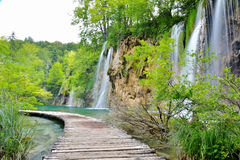 其中一个最美好的地方在世界Plitvice -克罗地亚上 图库摄影