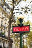 其中一个巴黎的红色地铁车站标志 图库摄影