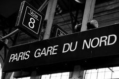 巴黎Gare du Nord Sign 库存照片