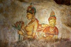 其中一幅在锡吉里耶岩石的美好的壁画在锡吉里耶,斯里兰卡 库存照片