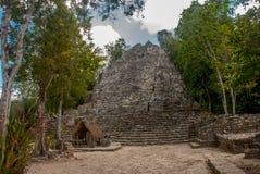 其中一座印象深刻的石金字塔在科巴,古老玛雅城市废墟在尤加坦,墨西哥 免版税图库摄影
