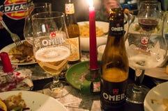 其中一著名啤酒厂啤酒在客栈在跟特, 2017年11月5日的比利时 免版税库存照片