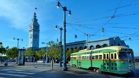 其中一辆旧金山的原始的双端的PCC路面电车,  免版税库存照片