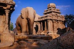 其中一Pallava国王的古老建筑奇迹 库存照片