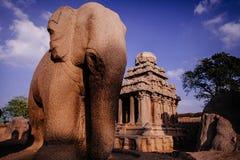 其中一Pallava国王的古老建筑奇迹 免版税库存照片