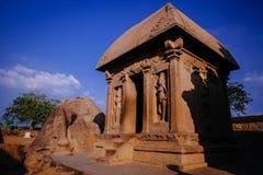 其中一Pallava国王的古老建筑奇迹 库存图片