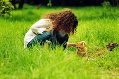 其中任一在庭院里阻塞姜小猫 库存照片