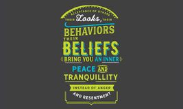 其他的采纳,他们的神色,他们的行为,他们的信仰,带来您内在和平和宁静 向量例证