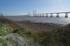 其次Severn横穿,在布里斯托尔湾的桥梁在Engl之间 库存图片