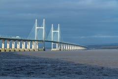 其次Severn横穿,在布里斯托尔湾的桥梁在Engl之间 免版税库存图片