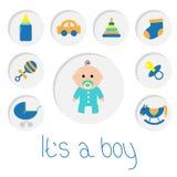 其男孩 男婴与瓶,马,吵闹声,安慰者,袜子,汽车玩具,婴儿车,金字塔的阵雨卡片 图标来回集 免版税图库摄影
