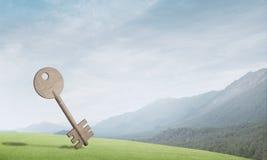 具体关键标志和自然风景的概念性背景图象 库存图片