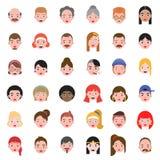 具体化人顶头区别头发象集合2,平的设计 向量例证