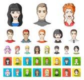 具体化和面孔动画片,在集合收藏的平的象的设计 人` s出现传染媒介标志股票网 库存例证