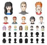 具体化和面孔动画片,在集合收藏的黑象的设计 人` s出现传染媒介标志股票网 库存例证