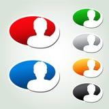 具体化象,卵形贴纸-人,用户,成员 免版税库存照片