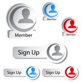 具体化象,按钮-人,用户,成员 库存例证