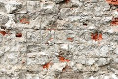 具体块墙壁的片段,镇压去 免版税库存照片