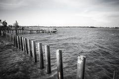具体杆防堤在轰隆Khun Thian海的 库存照片