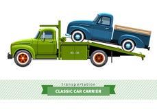 经典中间性责任的汽车搬运工卡车侧视图 库存照片