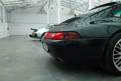 经典之作跑车的尾灯,保时捷911 免版税库存照片