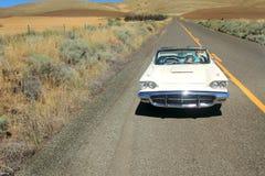 经典之作1960年Ford Thunderbird敞篷车的女孩 免版税图库摄影