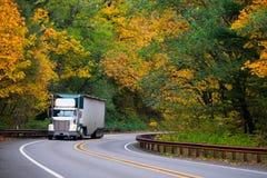 经典之作bonneted半卡车在路秋天森林的被取笑的拖车 免版税库存图片