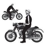 经典减速火箭的摩托车 免版税库存图片