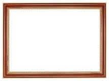 经典减速火箭的棕色木画框 免版税库存照片