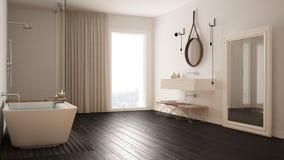 经典卫生间,现代minimalistic室内设计 免版税图库摄影