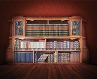 经典图书馆。古家具 库存照片