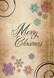 经典圣诞快乐新年卡片纸 免版税库存照片